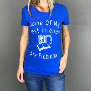 Fictional Friends Book Lovers Blue t-shirt